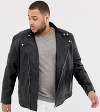 Jacamo Plus Smart Leather Biker Jacket Black