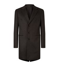 Armani Collezioni T Line Wool Coat Male Dark Grey