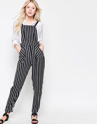 Daisy Street Jumpsuit In Stripe Black