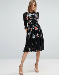 Asos Premium Midi Skater Dress With Floral Embroidery Black