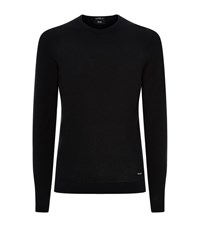 Boss Fine Mesh Knit Jumper Male Navy