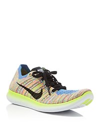 Nike Free Rn Flyknit Lace Up Sneakers White Black Floral