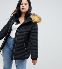 Lovedrobe Quilted Jacket With Faux Fur Trim Black