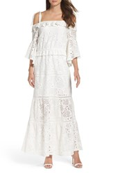 Foxiedox Women's Lace Bell Sleeve Off The Shoulder Gown White