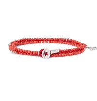 Isaia Saracino Red Coral And Silver Bead Wrap Bracelet Red