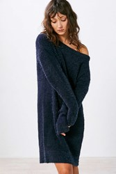 Silence And Noise Fuzzy Off The Shoulder Sweater Mini Dress Navy