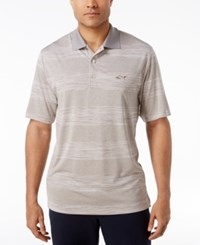 Greg Norman For Tasso Elba Men's Heathered Striped Performance Sun Protection Golf Polo Silver Opd