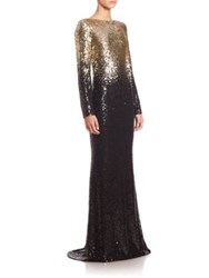 Pamella Roland Beaded Ombre Chiffon Gown Gold Black