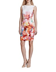 Julia Jordan Perforated Floral Sheath Dress Coral