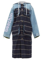 Natasha Zinko Oversized Denim And Checked Coat Blue Multi