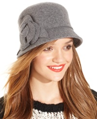 Nine West Felt Cloche With 3D Flower Heather Grey