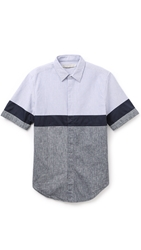 Shades Of Grey Colorblock Shirt Stripe Navy Chambray