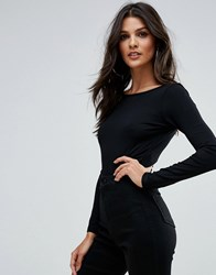 Asos Scoop Back Body With Long Sleeves And Super 80S High Leg Black