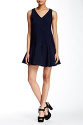Romeo And Juliet Couture V Neck Sleeveless Dress Blue