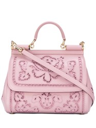 Dolce And Gabbana Floral Sicily Tote Pink Purple