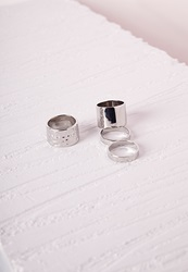 Missguided Chunky And Thin Stacking Ring Set Silver