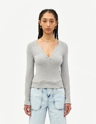 Farrow Marie V Neck Top In Heather Grey Size Small Spandex