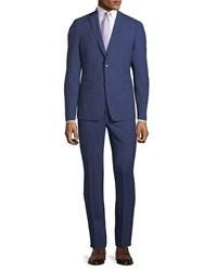 Neiman Marcus Slim Fit Two Piece Pinstriped Wool Suit Navy