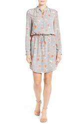 Halogenr Women's Halogen Tie Waist Shirtdress Ivory Coral Distant Floral