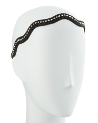 Deepa Gurnani Wave Beaded Headwrap Black Silver