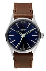 Nixon 'The Sentry 38' Leather Strap Watch 38Mm Blue Brown