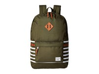 Herschel Heritage Forest Night Offset Stripe Veggie Tan Leather Backpack Bags Olive