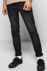 Boohoo Fit Stretch Jean With Raw Edge Cuff Washed Black