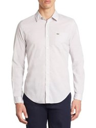 Lacoste Cotton Voile Slim Fit Button Down Shirt F1r Shadow White Sirop Pink White