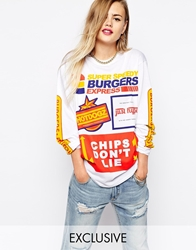 Hype X Asos Fats Food Long Sleeve T Shirt With Chips Don't Lie Print White