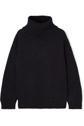 Monse Open Back Merino Wool Turtleneck Sweater Navy