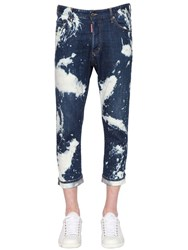 Dsquared 18Cm Glam Head Bleached Denim Jeans