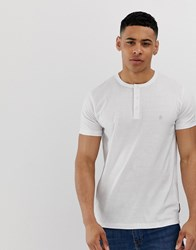 French Connection Grandad Collar T Shirt White
