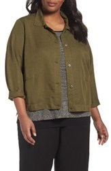 Eileen Fisher Plus Size Women's Classic Collar Jacket Olive