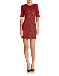 Romeo And Juliet Couture Paisley Ponte Knit Sheath Oxblood