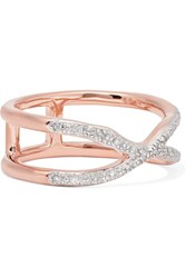 Monica Vinader Riva Wave Cross Rose Gold Vermeil Diamond Ring K Gbp