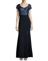 Theia Short Sleeve V Neck Gown Marina Blu