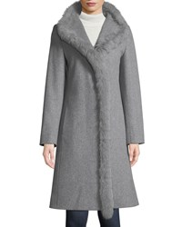 Cinzia Rocca Fox Fur Trim Single Breasted Wool Coat Gray