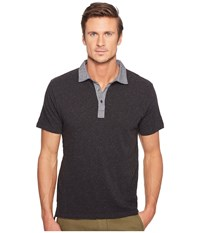 Todd Snyder Chambray Collar Polo Dark Charcoal Mix Men's Clothing Gray