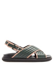 Marni Quilted Leather Cross Strap Sandals Green Multi