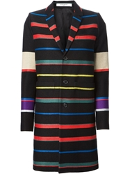 Givenchy Woven Striped Overcoat Black