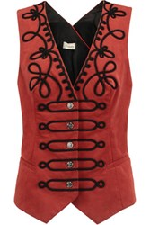 Temperley London Voyage Embroidered Cotton Blend Twill Gilet Claret