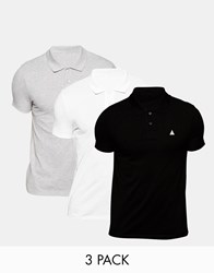 Asos Pique Muscle Polo With Embroidery 3 Pack Save 20 Multi