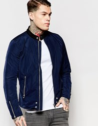 Diesel Jacket J Edge Clean Lightweight Nylon Biker In Navy Blue