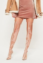 Missguided Nude Clear Over The Knee Heeled Boots