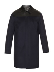 Valentino Bonded Leather Wool And Cashmere Blend Coat