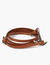 Miansai Tan Leather And Silver Anchor Bracelet
