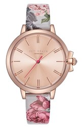 Ted Baker London Leather Strap Watch 36Mm Printed Rose Gold