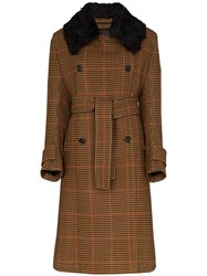 Wales Bonner Houndstooth Checked Coat Brown