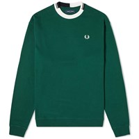 Fred Perry Authentic Abstract Collar Crew Sweat Green