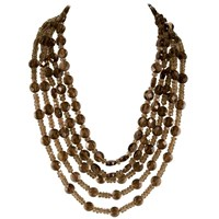 Brass Fusion 5 Strand Faceted Smoky Topaz Necklace